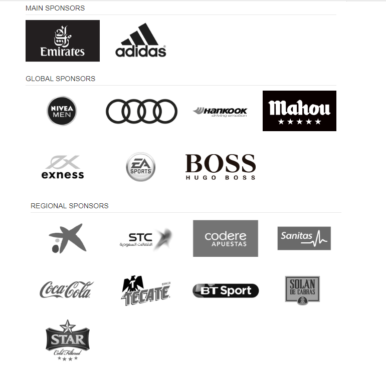 Read Madrid Sponsors 2018 - Patrocinadores del Real Madrid