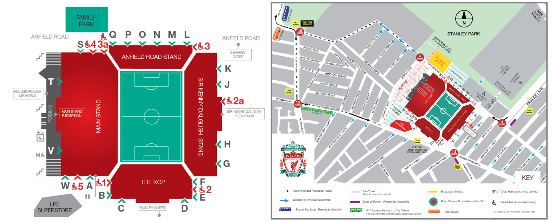 Anfield map transportation entrance
