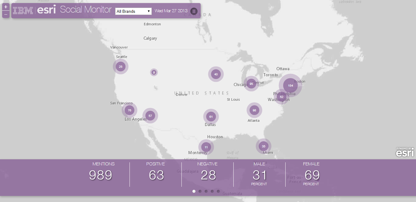 Location Analytics BIG Data GIS - Social Media Monitor - IBM Esri