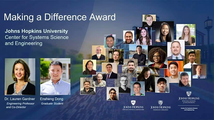 Johns Hopkins University - JHU - Making a difference award Esri UC 2020